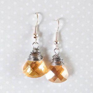 Topaz Teardrop Crystal Earrings
